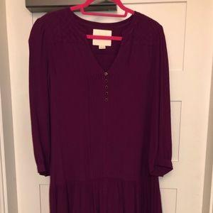 Purple Quarter length sleeve dress